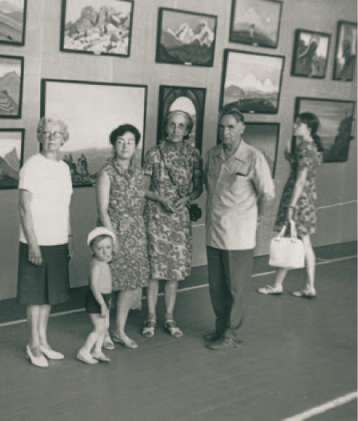N. Spirina and P. Belikov at the exhibition of Nicholas Roerich's pictures. 1975